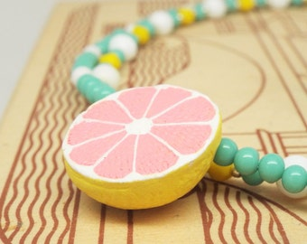 Pink Lemonade - Yellow and mint turquoise multi strand necklace with pink grapefruit ceramic bead
