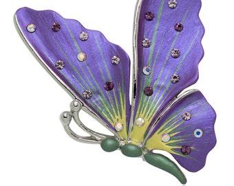 Hand Painted Swarovski Element Butterfly Brooch Pin - Purple
