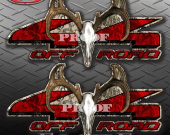 4x4 Buck Skull Obliteration Skull Camo Camouflage Truck Bed Vinyl Decal Sticker - PAIR