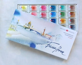 WHITE NIGHTS finest for artists Watercolor Painting Kit 24 colors in pans Russia