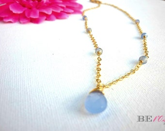 Violet Chalcedony Necklace - Goldfilled Necklace