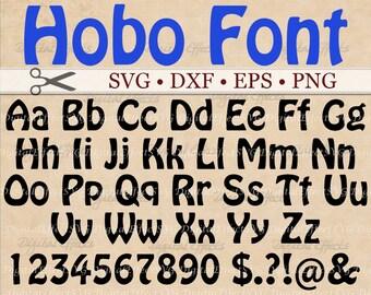 HOBO Font Monogram SVG Font,  Alphabet SVG, Dxf, Eps, Png Files 52 Letters, 10 Numbers, 6 Symbols,Silhouette Studio,Cut Files,Cricut