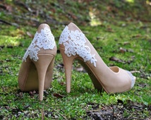 Crystal shoes wedding shoes rhinestone peeptoe shoes with lace applique wedding high heels party shoes prom shoes with venice lace shoes