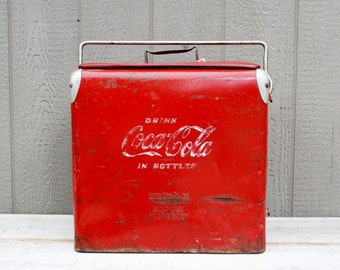 Coca Cola Metal Cooler, Fathers Day, Coke Cooler, Vintage 1950's Coke Cooler, Ice Chest, Lake House Decor, Classic Coca Cola, Gift for Him