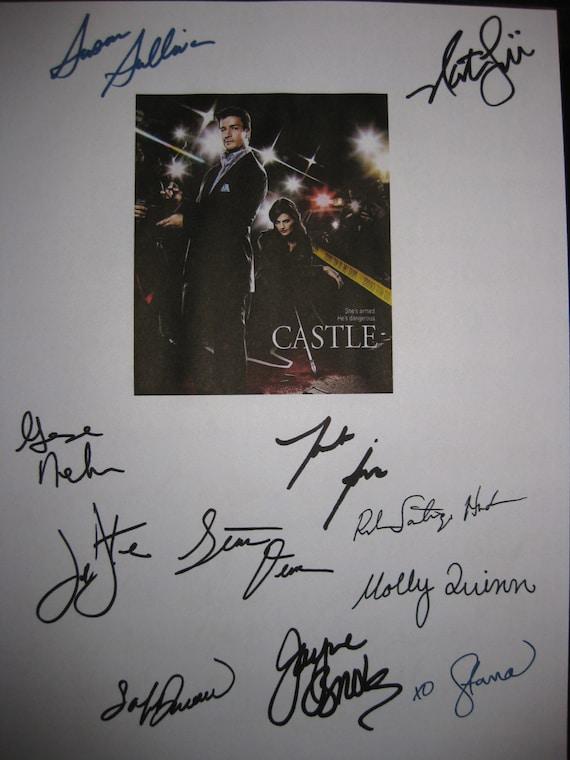 Castle Signed TV Script Screenplay X11 Autographs Nathan Fillion Stana Katic George Newburn Jayne Brook Jon Huertas Molly C. Quinn Sullivan