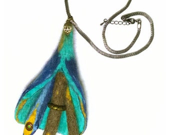 short-link chain with felt-pendant handmade abstract blue green
