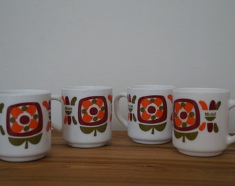 2 Mobil Mugs cups - Maroon orange khaki Green