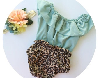Leopard bloomers and blue top!!