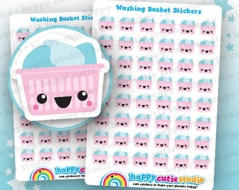 48 Cute Washing Basket/Laundry/Chores Planner Stickers, Filofax, Erin Condren, Happy Planner,  Kawaii, Cute Sticker, UK