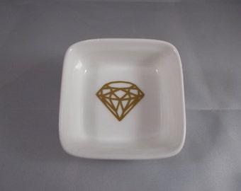 Gold Diamond Ring Dish Jewelry Holder Trinket Dish