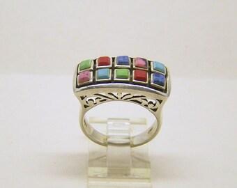 HS sterling silver gemstone ring