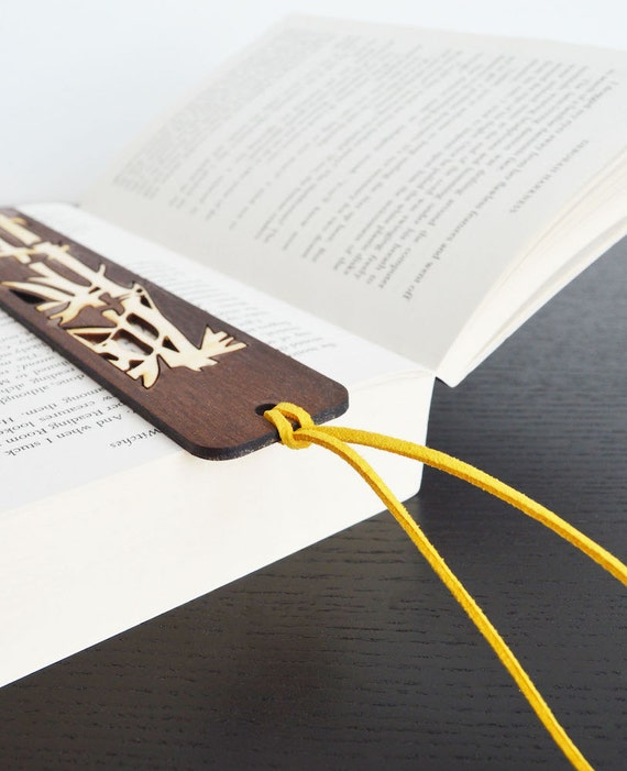 Unique Wooden Bookmark with Leather String, Laser Cut Walnut Bookmark with Birch Plywood Bamboo Inlay and Yellow Leather String