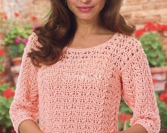 Ladies Blouse, Sweater, Crochet Pattern. PDF Instant Download.