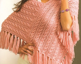 Ladies Cable Poncho, Knitting Pattern.  PDF Instant Download.