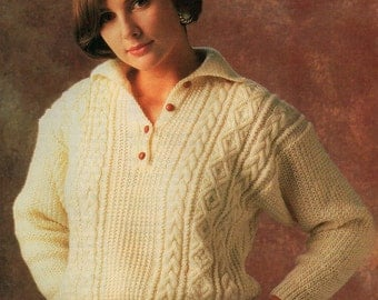 Ladies Cable Polo Sweater, Knitting Pattern. PDF Instant Download.