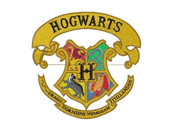 Embroidery-Embroidery: coat of arms of Hogwarts-Hogwarts crest