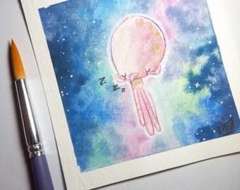 Small original watercolor - illustration - painting - jellyfish - The Jellyfish: Sleepy Mood