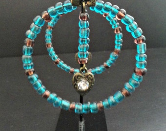 Earrings turquoise and purple rings