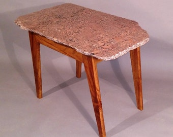 India Red Natural Edge Granite End Table,live edge,granite table,rustic table,mid-century modern,handmade table,side table,coffee table