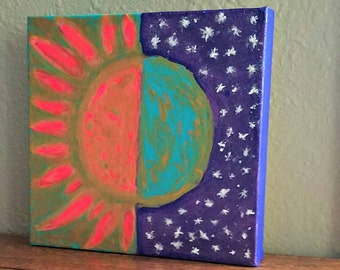 Sun and Moon mixed media  painting on canvas