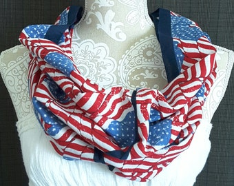Bandana Infinity Scarf - American Flag - Red White and Blue - Stars and Stripes - Womens Scarves - Casual Style - Cotton Cowl - New