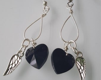 Black heart & Wing earrings