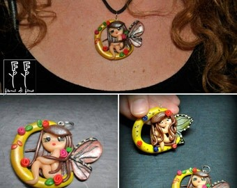 polymer clay pendant necklaces with fairy on Moon