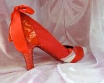 red glitter heel party shoe