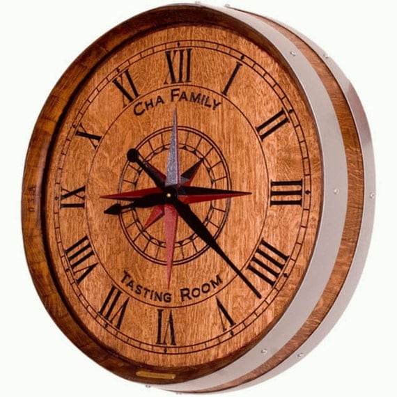 Personalized Wine Barrel Clock By Ewoodartcarvings On Etsy