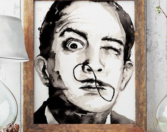 Salvador DALI Portrait painting vintage retro watercolour wall art hand painted surrealist Poster Print ANY SIZE boho hipster perfect gift
