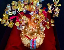 Feng Shui Attract MONEY Citrine Chinese Coin Wishful Tree