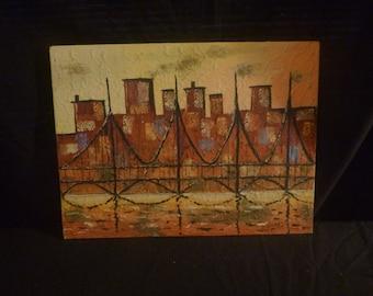 Mid Century/70's Style Cityscape oil Painting
