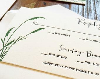 MONTAUK Wedding Invitation Suite   Coastal, Sea Grass Inspired Letterpress   SAMPLE