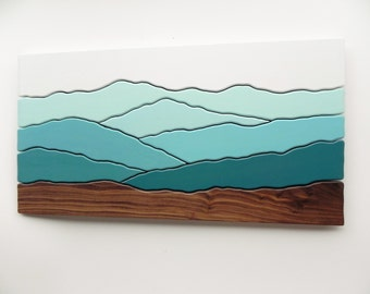 Mountain View, Wood Wall Art, Wood Wall Decor, Modern Wood Design, Wall Art, Modern Decor, Mountain art, Ridge, Hiking Gift, TO ORDER