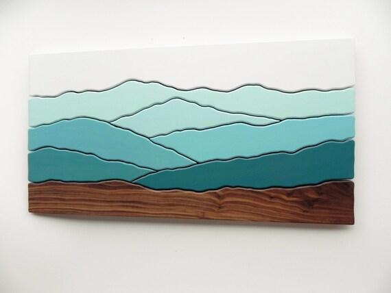 Mountain scene wood wall art /Maple, Cherry, Black walnut, paint/