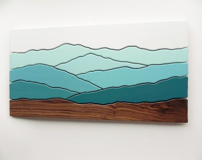 Mountain View, Wood Wall Art, Wood Wall Decor, Modern Wood Design, Wall Art, Modern Decor, Mountain art, Ridge, Hiking Gift, TO ORDER