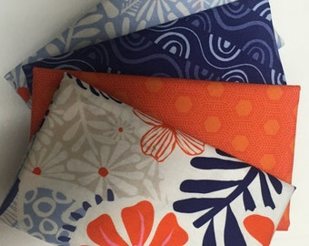 Four Fat Quarter Bundles  - Shades of Orange & Blue