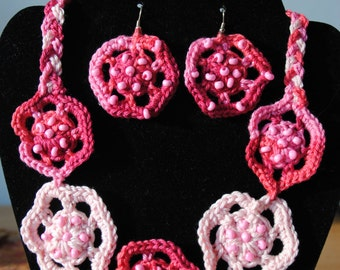 Crocheted pink flowers with beads