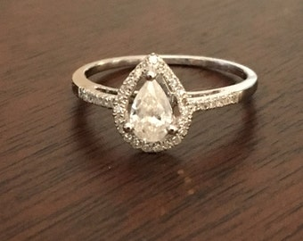 Pear cut Natural diamond halo engagement ring