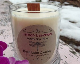 Lemon Lavender 100% Soy Wax Candle/ Eco-friendly Candle/12 oz/55 hours burn