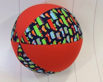 Balloon Ball Fabric, Balloon Ball Cover, Portable Ball, Travel Ball, Inflatable, Sensory, Special Needs, Cars, Trucks, Red, Eumundi Kids
