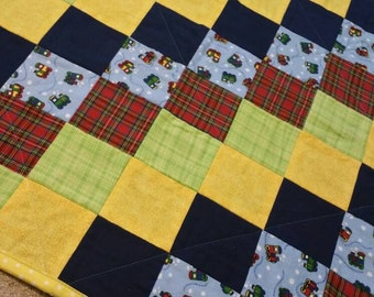 Trains baby quilt