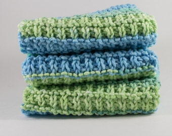 Hand Knit Dishcloth Set - Hand Knit Washcloth - Blue/Green Mix