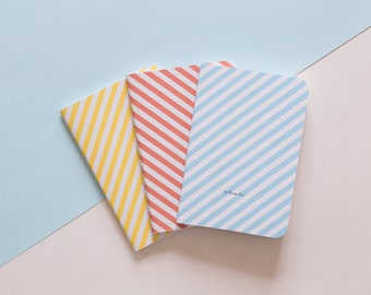 BUARCOS, Set of 3 handmade sewn A6 notebooks