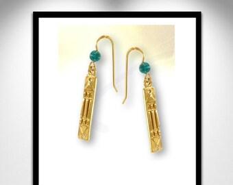 Atlantis vermeil and earrings _ stone earrings vermeil Atlante and pierre
