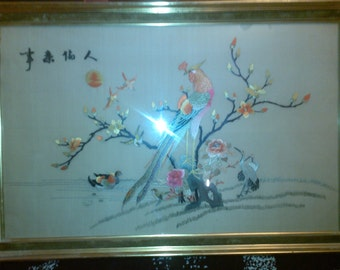 painting on silk embroidery vintage Chinese Asian original