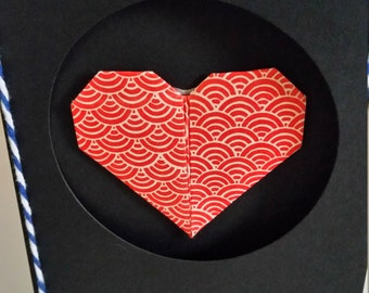 Heart origami card valentines