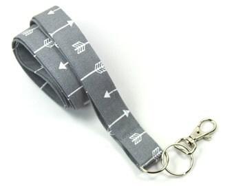 ARROW Fabric Lanyard, Gray Arrow Lanyard, Gray Badge Holder, Arrow Badge Holder