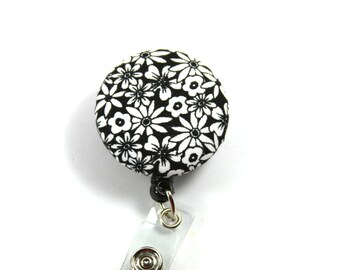 HAPPY Flower Lanyard, Black and White Flower Badge Reel, Retractable Badge Reel, Black and White Badge Holder