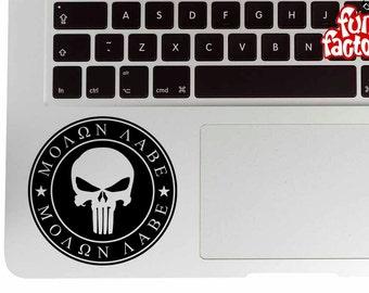 Punisher Skull Molon Labe Macbook Air Pro Laptop Palm Rest Decal Sticker